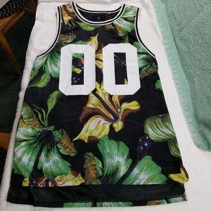 On The Byas Black Floral Hawaiian Print Jersey T